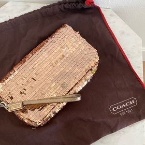 Coach Special Edition Pink Sequins Large Clutch